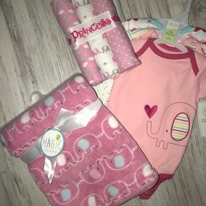 Baby girl newborn bundle blankets and onesies